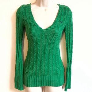 American Eagle deep v neck green cotton sweater